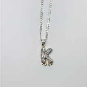 Jewelry - Sterling Silver 925 K Charm Pendant & Necklace